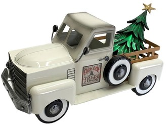 Overstock Small Cream Truck with Christmas Tree