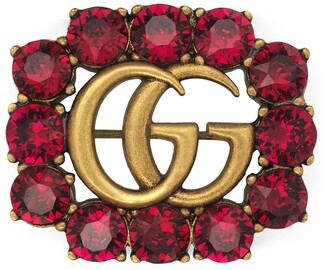 Gucci Metal Double G brooch with crystals