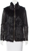 Veda Leather-Paneled Rabbit Fur Jacket