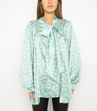 New Look Port Boutique Satin Leaf Bow Blouse
