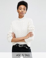 ASOS Tall ASOS TALL Sweater With Cable Stitch And High Neck