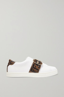 Fendi Logo-embossed Leather Sneakers - White