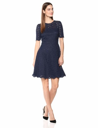 Lark & Ro Women's Half Sleeve Lace Crewneck Fit and Flare Dress