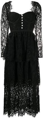 Self-Portrait Lace-Tiered Bustier Dress
