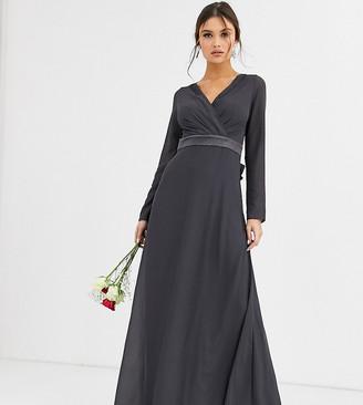 TFNC Bridesmaid long sleeve maxi dress with satin bow back in gray