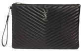 Saint Laurent Large Monogram Matelasse Leather Pouch - Black