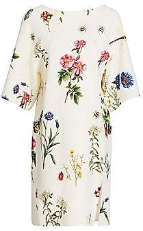 Oscar de la Renta Women's Floral Wool-Blend Shift Dress