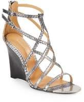 Badgley Mischka Mora Snake-Embossed Leather Wedge Sandals