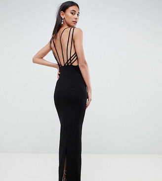 Asos Tall DESIGN Tall Cage Back Maxi Dress-Black