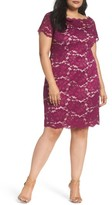 Adrianna Papell Plus Size Women's Off The Shoulder Lace Sheath Dress