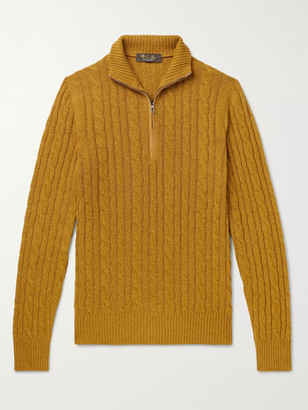 Loro Piana Suede-Trimmed Cable-Knit Baby Cashmere Zip-Up Sweater - Men - Yellow
