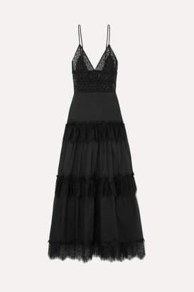 Charo Ruiz Ibiza Dama Lace-paneled Cotton-blend Voile Maxi Dress - Black