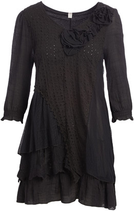 Pretty Angel Women's Blouses BLACK(BK) - Black Flower-Accent Tiered-Ruffle Tunic - Women