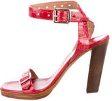 Alaia Leather Ankle Strap Sandals