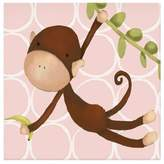 Oopsy Daisy Fine Art For Kids Hanging Monkey Canvas Wall Art in Pink