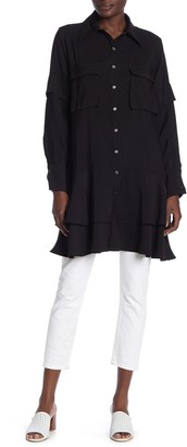 Tov Ruffled Button Down Safari Shirt Dress