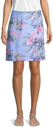 Tommy Bahama Botanical-Print Linen Skirt