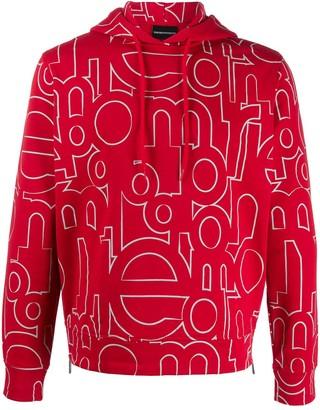 Emporio Armani All-Over Logo Hoodie