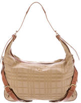 Burberry Check Leather-Trimmed Hobo