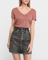 Express Super High Waisted Black Cinched Button Fly Denim Skirt