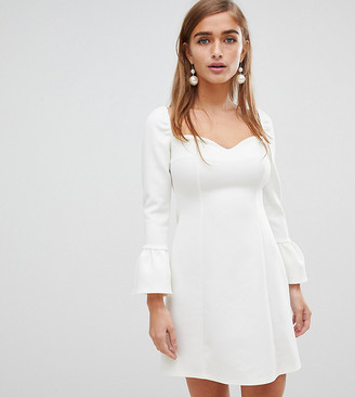 ASOS DESIGN Petite sweetheart mini dress with fluted sleeve