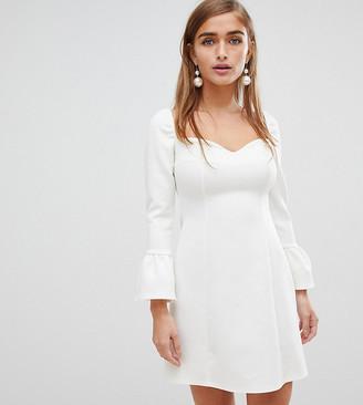 Asos DESIGN Petite sweetheart mini dress with fluted sleeve-Cream