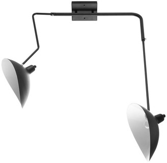 Modway Modern Steel Metal Double Sconce Fixture Wall Lamp, Black