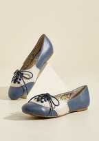 Bettie Page Shoes Study Buddies Oxford Flat in Navy