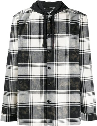 John Varvatos Checked Hooded Shirt