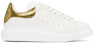 Alexander McQueen White and Gold Croc Oversized Sneakers