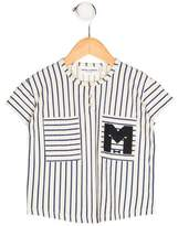 Mini Rodini Boys' Striped Graphic Print Shirt