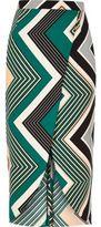 River Island Womens Green print wrap midi skirt