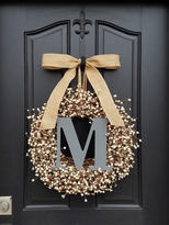 Etsy Monogram Wreaths, Wedding Wreaths, Personalized Decor, Berry Wreath, Vintage Inspired Decor, Cream B
