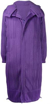 Pleats Please Issey Miyake micro-pleated long coat