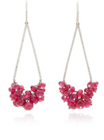 Susan Foster 18K White Gold, Ruby and Diamond Earrings