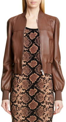 Michael Kors Collection Puff Sleeve Crop Leather Jacket