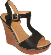 DbDk Women's Nassa-2 T-strap Faux Wood Peep-toe Platform Wedge High Heel Sandals (10, )