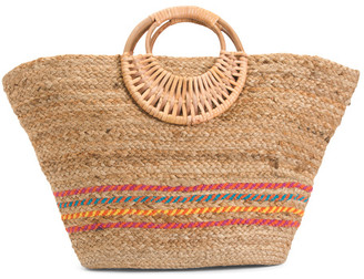 Spring Stripe Jute Tote With Wooden Handles