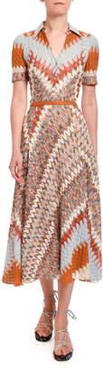 Missoni Optical Zigzag Knit Button-Front Midi Dress