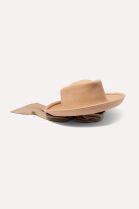CLYDE Gambler Voile-trimmed Wool-felt Hat - Sand