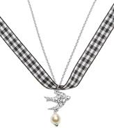 Miu Miu Crystal swallow gingham necklace