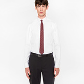 Paul Smith Men's Slim-Fit White Cotton Penny-Collar Shirt With 'Artist Stripe' Cuff Lining