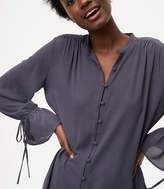 LOFT Covered Button Tie Cuff Blouse