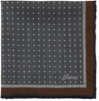 Brioni Men's Chevron Dots Silk Pocket Square