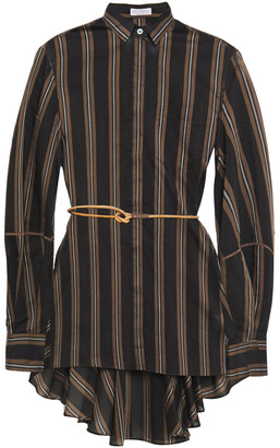 Brunello Cucinelli Belted Bead-embellished Striped Cotton And Silk-blend Shirt