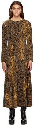 Dries Van Noten Black and Gold Wool Snake Dress