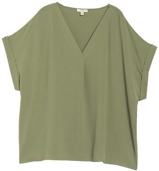 Como Vintage V-Neck Drop Shoulder Twill T-Shirt (Plus Size)