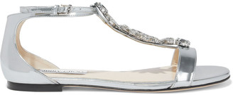 Jimmy Choo Averie Crystal-embellished Mirrored-leather Sandals