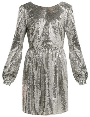 Saloni Camille Sequinned Mini Dress - Womens - Silver