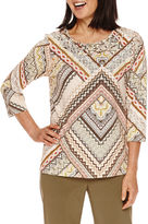 Alfred Dunner Cactus Ranch 3/4 Sleeve Print Top